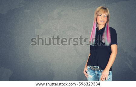 Young model with red hair with map in background #596329334