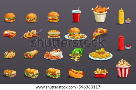 Fast food without contour. Icons set Royalty-Free Stock Photo #596363117