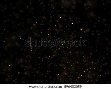 Abstract Gold Glitter Explosion on Black Background #596403059