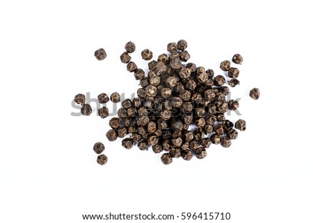 Black pepper corns on white background #596415710