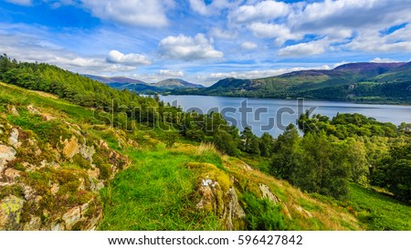 Hillside view looking over Derwentwater, The Lake District, Cumbria, England Royalty-Free Stock Photo #596427842