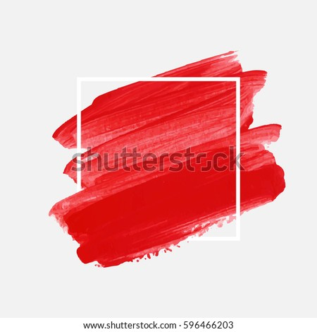 Art abstract background brush paint acrylic texture design poster illustration vector over square frame. Perfect watercolor design for beauty headline, logo and sale banner.  #596466203