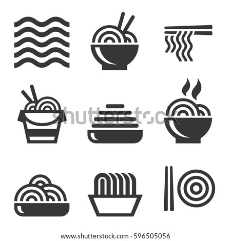 Noodle Icons. Asian Food Bar Logos Set. Vector #596505056