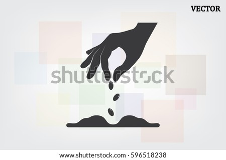 Hand and seeds, vector icon Royalty-Free Stock Photo #596518238