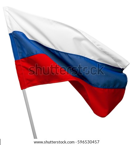 Russia flag waving on white background #596530457