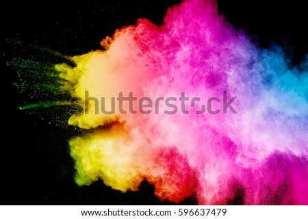 color powder explosion on black background. Mauve color cloud. color dust explode. Freeze motion paint Holi. #596637479