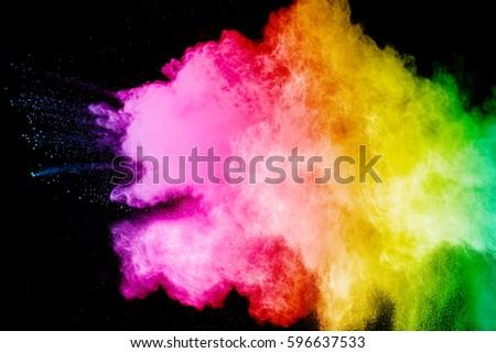 color powder explosion on black background. Mauve color cloud. color dust explode. Freeze motion paint Holi. #596637533