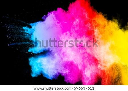 color powder explosion on black background. Mauve color cloud. color dust explode. Freeze motion paint Holi. #596637611