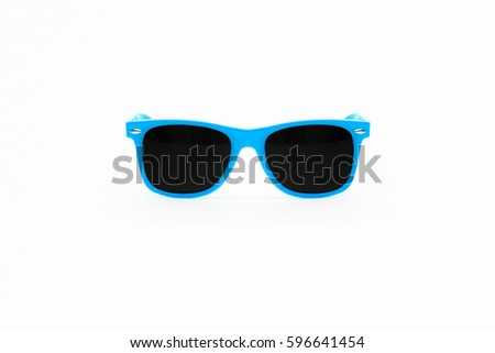 Baby Blue Plastic Sunglasses Isolated on White Background