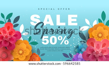 Spring sale banner with paper flowers on a blue background. Banner perfect for promotions, magazines, advertising, web sites. Vector illustration. Royalty-Free Stock Photo #596642585
