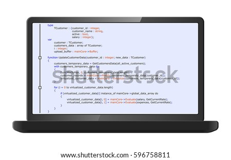 Laptop with program code on screen. Programming and coding concept. Program listing. Vector illustration. #596758811