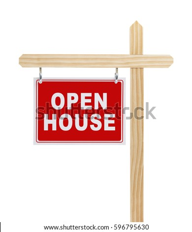 Open House Real Estate Sign Isolated on White Background.