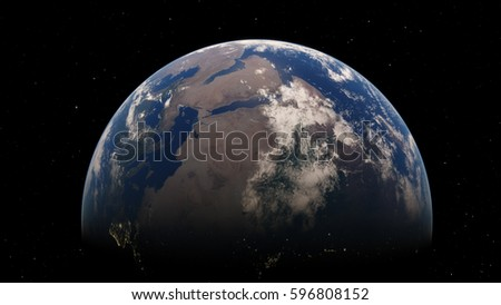 Planet Earth from space 3D illustration (Elements of this image furnished by NASA) #596808152