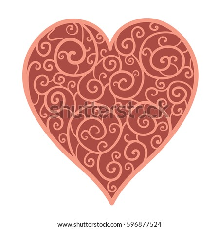Beautiful red abstract heart of spiral lace. Isolated on white. Greeting card and invitation of wedding, Valentine's Day, mother's day, birthday,  and seasonal holiday. Vector illustration.  #596877524