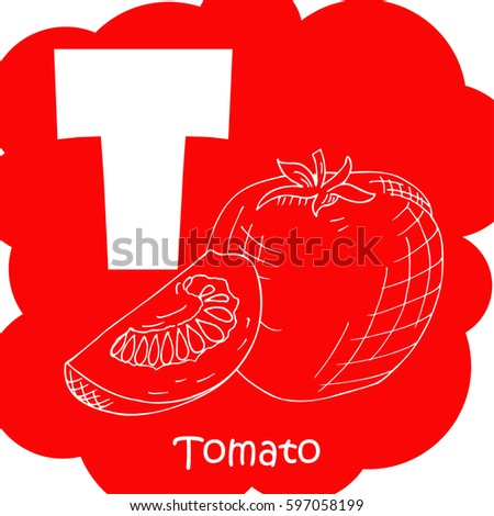 Alphabet for kids with vegetables. Healthy letter abc T-tomato. #597058199
