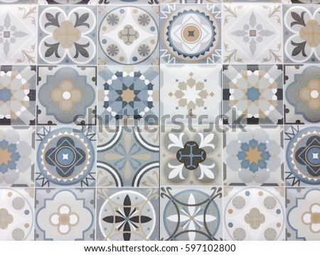 Detail of some typical portuguese tiles, Ceramic tiles patterns  #597102800