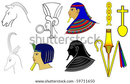 Egyptian motives and ornaments - vector #59711650