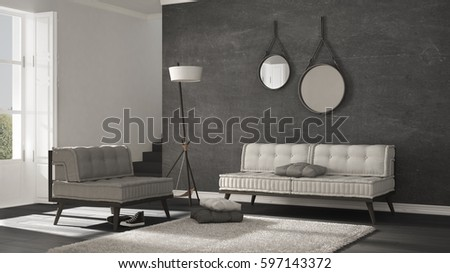 Scandinavian living room with couch and soft carpet, minimalist white and gray interior design #597143372