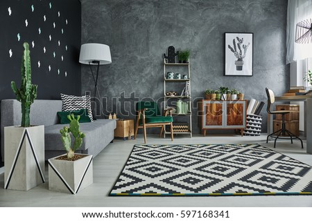 Living room interior with plants and stylish furniture