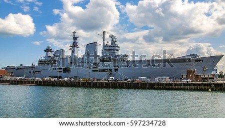 View of aircraft carrier in Portsmouth harbour #597234728