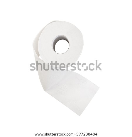 top view roll of toilet paper isolated on white background #597238484