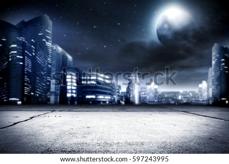 background of city street and night time  #597243995