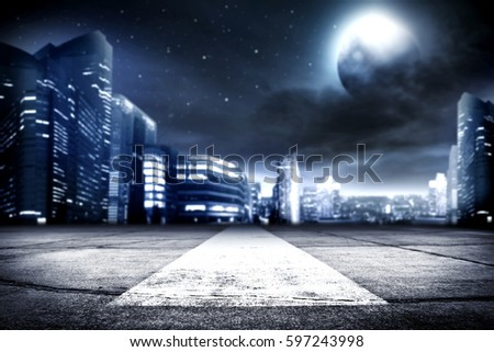 background of city street and night time  #597243998