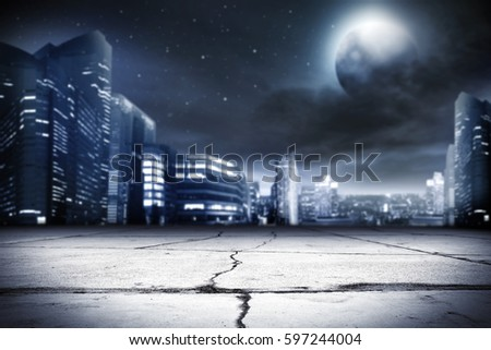 background of city street and night time  #597244004