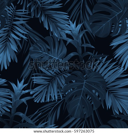 Exotic tropical vrctor background with hawaiian plants and flowers. Seamless indigo tropical pattern with monstera and sabal palm leaves, guzmania flowers. Royalty-Free Stock Photo #597263075