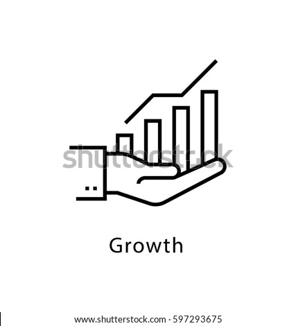 Growth Vector Line Icon  Royalty-Free Stock Photo #597293675