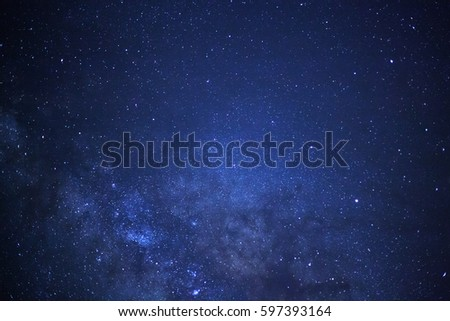 Close-up of Milky way galaxy with stars and space dust in the universe, Long exposure photograph. #597393164