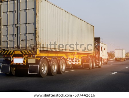 Container truck on road #597442616
