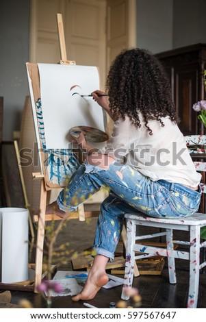 Artist in the studio, artist's accessories #597567647