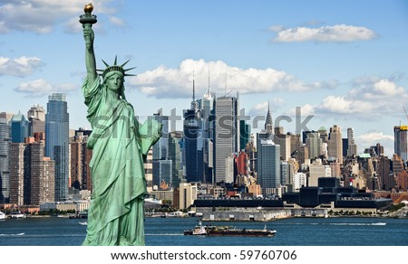 photo tourism concept new york city skyline with new york  statue of liberty