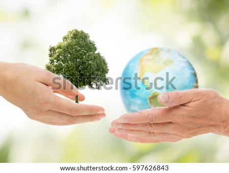 earth day, nature, conservation, environment and ecology concept - young and senior woman hands holding oak tree and planet over green natural background Royalty-Free Stock Photo #597626843