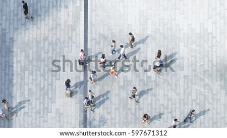 people walk on across the pedestrian concrete pavement (wide angle of aerial top view) #597671312