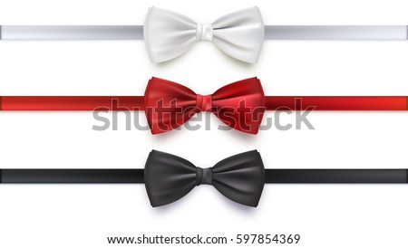 Realistic white, black and red bow tie, vector illustration, isolated on white background. Elegant silk neck bow.