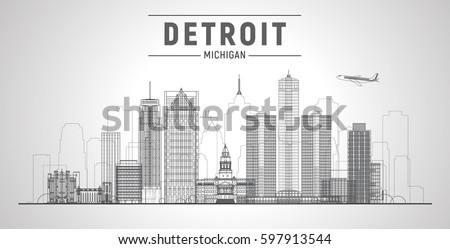 Detroit, Michigan (USA) city lines skyline. Business travel and tourism concept with modern buildings. Image for presentation, banner, web site.