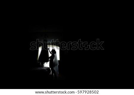 Silhouette of bride admiring her wedding dress #597928502