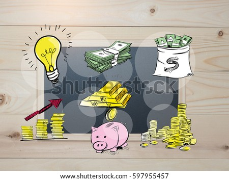 Top view blackboard .Draw prepare money for future investment . Top board on wood background.