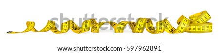 yellow isolated metric measuring tape on white panorama background Royalty-Free Stock Photo #597962891