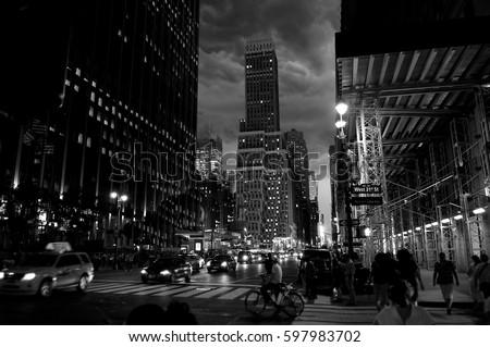 Manhattan at night, black and white photo