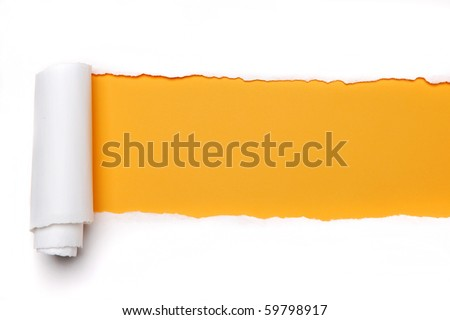 Torn Paper with space for text with yellow background Royalty-Free Stock Photo #59798917
