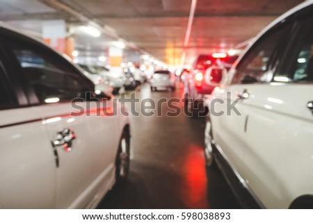 Blurred of car parking in shopping center #598038893