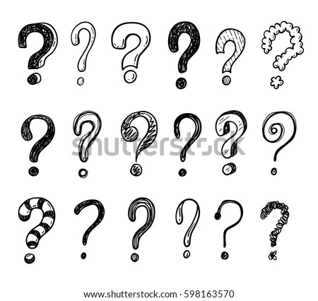 Hand drawn doodle questions marks set. Royalty-Free Stock Photo #598163570
