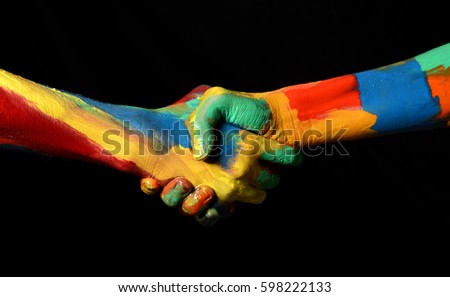 Hand Shaking Gesture of Oil Painted Hands Diversity concept #598222133