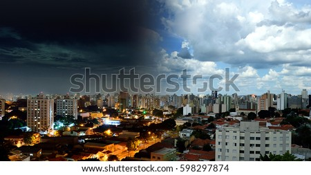 Top view of the city of Campinas - SP in Brazil showing Night and Day in the same picture