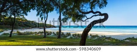 Panoramic photo of Meelup Beach near Dunsborough in the south west of Western Australia, Australia.