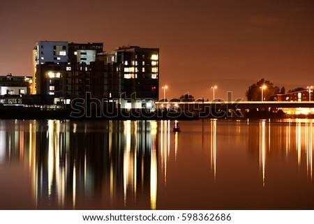night photo of Cardiff bay                       #598362686