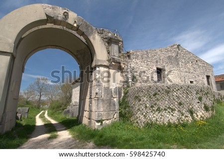 Saepinum, ancient ruins in Italy #598425740